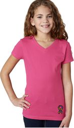 Autism Ribbon Bottom Print Girls V-neck
