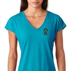 Autism Ribbon Pocket Print Ladies Shirts