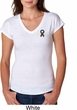 Autism Ribbon Pocket Print Ladies Tri Blend V-neck