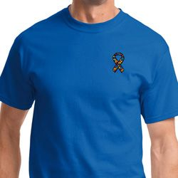 Autism Ribbon Pocket Print Mens Shirts