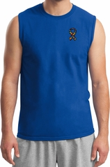 Autism Ribbon Pocket Print Muscle Shirt