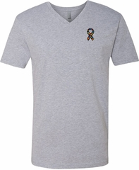 Autism Ribbon Pocket Print V-neck Shirt