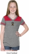 Autism Ribbon Small Print Girls Football Tee