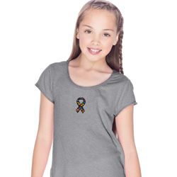 Autism Ribbon Small Print Girls Fringe T-shirt