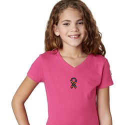 Autism Ribbon Small Print Girls V-neck