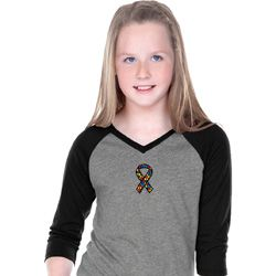 Autism Ribbon Small Print Girls V-neck Raglan