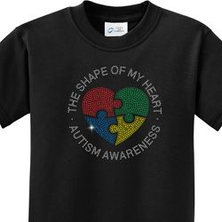 Autism Shape of My Heart Kids Shirts