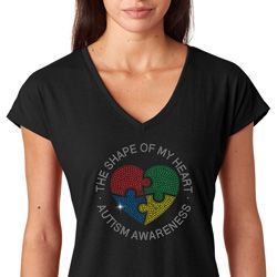 Autism Shape of My Heart Ladies Shirts
