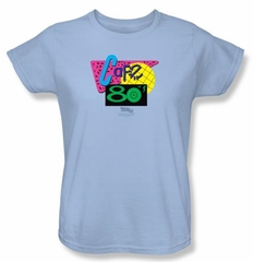 Back To The Future II Ladies T-shirt Movie Cafe 80s Light Blue Shirt