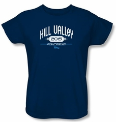 Back To The Future II Ladies T-shirt Movie Hill Valley 2015 Navy Shirt