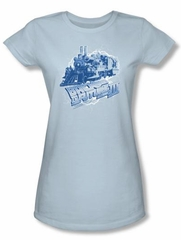 Back To The Future III Juniors T-shirt Movie Time Train Blue Shirt