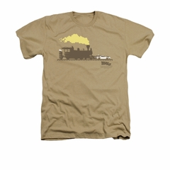 Back To The Future III Shirt Pushing The Delorean Adult Heather Sand Tee T-Shirt