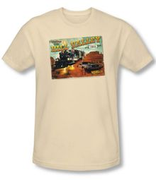 Back To The Future III Slim Fit T-shirt Hill Valley Postcard Adult Shirt