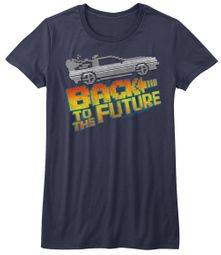 Back To The Future Juniors Shirt 8Bit DeLorian Blue Tee T-Shirt