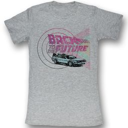 Back To The Future Juniors T-shirt Time Machine And Shapes Grey Shirt