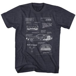 Back To The Future Shirt Blueprint Charcoal T-Shirt
