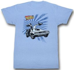 Back To The Future Shirt Lightning DeLorean Light Blue Tee T-Shirt