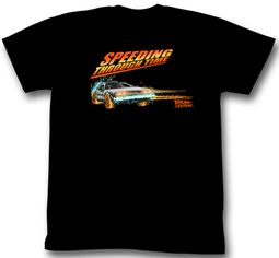 Back To The Future Shirt Speeding Through Time Adult Black Tee T-Shirt