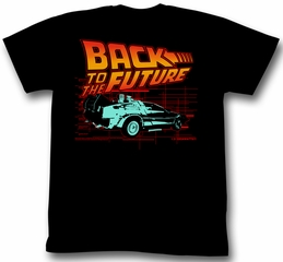 Back To The Future Shirt Deloreon Adult Black Tee T-Shirt