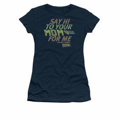 Back To The Future Shirt Juniors Say Hi Navy Blue Tee T-Shirt