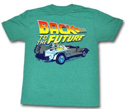 Back To The Future Shirt DeLorean Adult Green Heather Tee T-Shirt