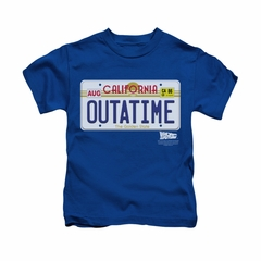 Back To The Future Shirt Kids Outatime Royal Blue Youth Tee T-Shirt