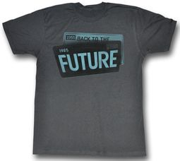 Back To The Future Shirt License Plate Adult Charcoal Tee T-Shirt