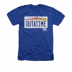 Back To The Future Shirt Outatime Adult Heather Royal Blue Tee T-Shirt
