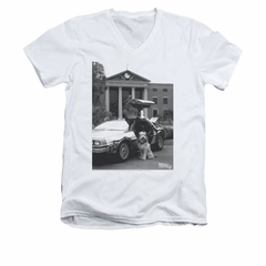 Back To The Future Shirt Slim Fit V Neck Einstein White Tee T-Shirt