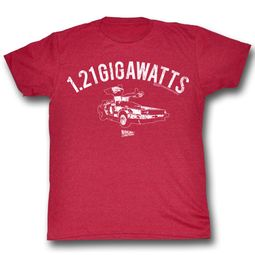 Back To The Future Shirt 1.21 Gigawatts Adult Red Tee T-Shirt