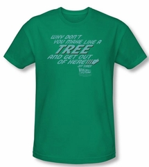 Back To The Future Slim Fit T-shirt Make Like A Tree Adult Green Shirt