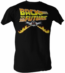 Back To The Future T-Shirt Delorean Fire Tracks Adult Black Tee Shirt