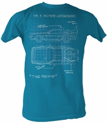 Back To The Future T-Shirt – Delorean Schematic Turquoise Adult Tee Shirt