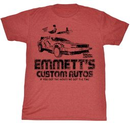 Back To The Future T-shirt Emmetts Custom Autos Adult Red Heather Shirt Tee