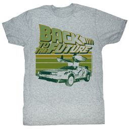 Back To The Future T-Shirt Open Delorean Car Adult Grey Shirt Tee