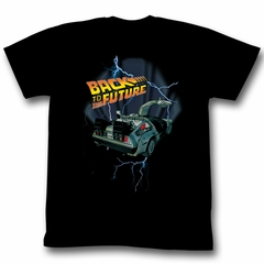 Back To The Future T-shirt Movie Lightning Car Adult Black Tee Shirt