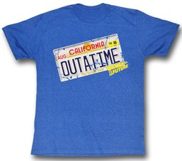 Back To The Future T-Shirt Outatime Sea Blue Heather Adult Tee Shirt