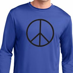 Basic Black Peace Mens Dry Wicking Long Sleeve Shirt