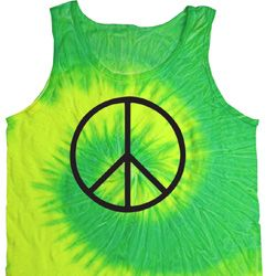 Basic Black Peace Tie Dye Tank Top