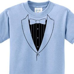 Basic Black Tuxedo Kids Shirts