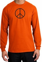 BASIC PEACE BLACK Sign Symbol Adult Long Sleeve T-shirt - Orange