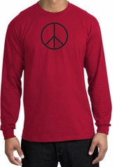 BASIC PEACE BLACK Sign Symbol Adult Long Sleeve T-shirt - Red