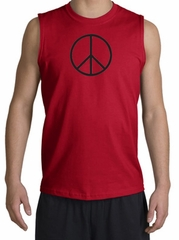 BASIC PEACE BLACK Sign Symbol Adult Muscle Shirt Shooter - Red