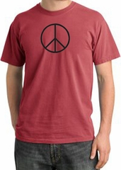 BASIC PEACE BLACK Sign Symbol Adult Pigment Dyed T-shirt - Dashing Red