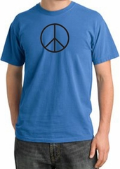 BASIC PEACE BLACK Sign Symbol Adult Pigment Dyed T-shirt - Medium Blue