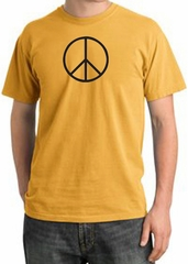 BASIC PEACE BLACK Sign Symbol Adult Pigment Dyed T-shirt - Mustard