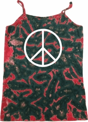 Basic White Peace Ladies Tie Dye Camisole Tank Top