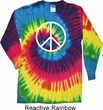 Basic White Peace Long Sleeve Tie Dye Shirt