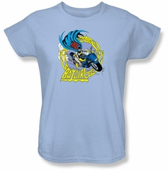 Batgirl Ladies T-shirt - Batgirl Motorcycle Dc Comics Light Blue