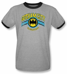 Batman and Robin Ringer Shirt Gotham City Basketball Shirt Grey/Black